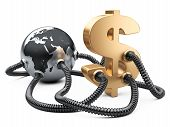 Gas And Oil Pipes Attached To Dollar Sign  And Planet Earth.