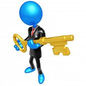 3D Businessman Character Key To Success