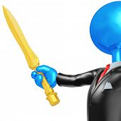 3D Businessman Character With A Sword