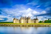 Chateau De Chambord, Unesco Medieval French Castle And Reflection. Loire, France