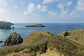 Mullion Cove island Cornwall UK the Lizard peninsula Mounts Bay near Helston