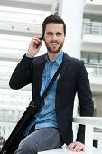 Businessman Calling With Mobile Phone