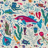 Bright Sea life in cartoon seamless pattern