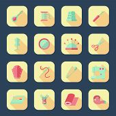 picture of ripper  - Sewing equipment icons set with pincushion scissors iron isolated vector illustration - JPG