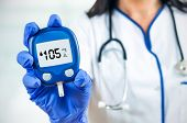 Closeup Composition Of Woman Doctor Holding Glucometer.
