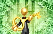 Gold Guy Businessman With Golden key