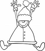 Happy Santa Cartoon Coloring Page