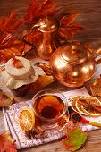 Autumn Tea With Spices And Honey On Wooden Table
