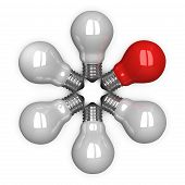 Red Tungsten Light Bulb Among White Ones Lying Radially