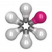 pink Tungsten Light Bulb Among White Ones Lying Radially