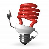 red Spiral Light Bulb Character In Moment Of Insight