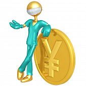 Gold Guy Doctor With Yen Coin