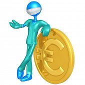 3D Doctor Character With Euro Coin