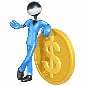 3D Doctor Character With Dollar Coin