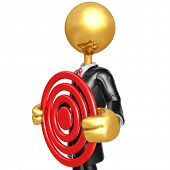Gold Guy Businessman Character Holding A Target
