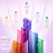 Colorful Translucent Geometric Bar Chart Infographic Elements