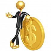 Gold Guy Businessman With Dollar Coin