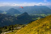 image of parachute  - Extreme parachuting in high mountains Alps Austria