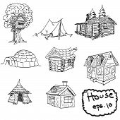 Vector Hand Drawn Set Of Houses, Doodles
