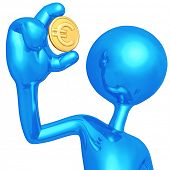 3D Character Holding Euro Coin