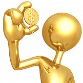 Gold Guy Holding Dollar Coin