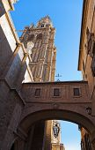 Street And Cathedral Of Toledo Spain