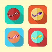 Ebola Virus Icon Set In Various Color (vector)