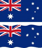 Flat and waving Australian Flag. Vector