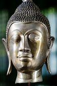 Bronze Buddha Head. Close-up