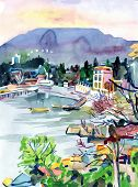 Постер, плакат: watercolor painting on paper of a bay is in the district