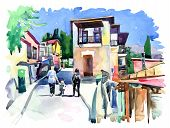 watercolor painting on paper of old street in Gurzuf, Crimea, Uk