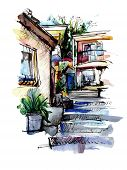 watercolor painting on paper of old street in Gurzuf