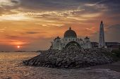 Malacca Straits Mosque at sunset