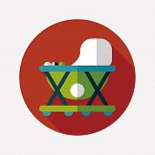 Baby Walker Flat Icon With Long Shadow,eps10