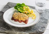 Beef Steak With Mustard Herb Crust And Romaine Lettuce Hearts With Mango Apple Vinaigrette