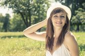 Young Hipster Cheerful Woman Take A Fun In Summer Park. Travel Outdoor Background