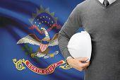 Engineer With Flag On Background Series - North Dakota
