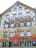 The facade of a house in Lucerne