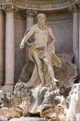 Statue Of Neptune At The Trevi Fountain In Rome, Italy