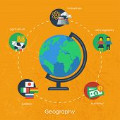 Geography infographics elements. Vector illustration.