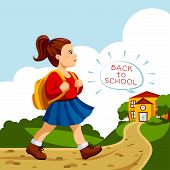 Girl go to school.