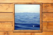 Window Seascape View From Wooden Room