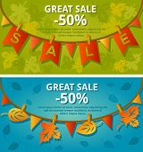 Sale banners with garlands. Vector illustration.