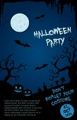 Halloween party flyer template - blue and black