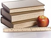 wooden ruler red apple books
