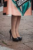 Detail Of Shoes Outside Ferragamo Fashion Shows Building For Milan Women's Fashion Week 2014
