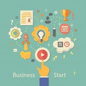 Business Startup Vector Illustration.   Gears infographics with people and icons