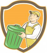 pic of garbage bin  - Illustration of a garbage collector carrying garbage waste rubbish bin looking to the side set inside shield crest shape on isolated background done in cartoon style - JPG