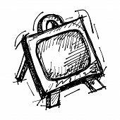 black sketch drawing of easel