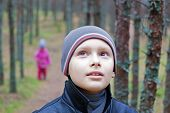 Children Forest Trees Walk Face Closeup Portrait